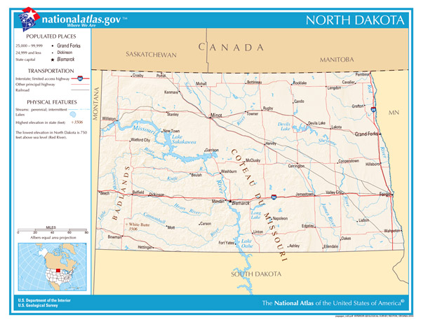 Large detailed map of North Dakota state. North Dakota state large detailed map.