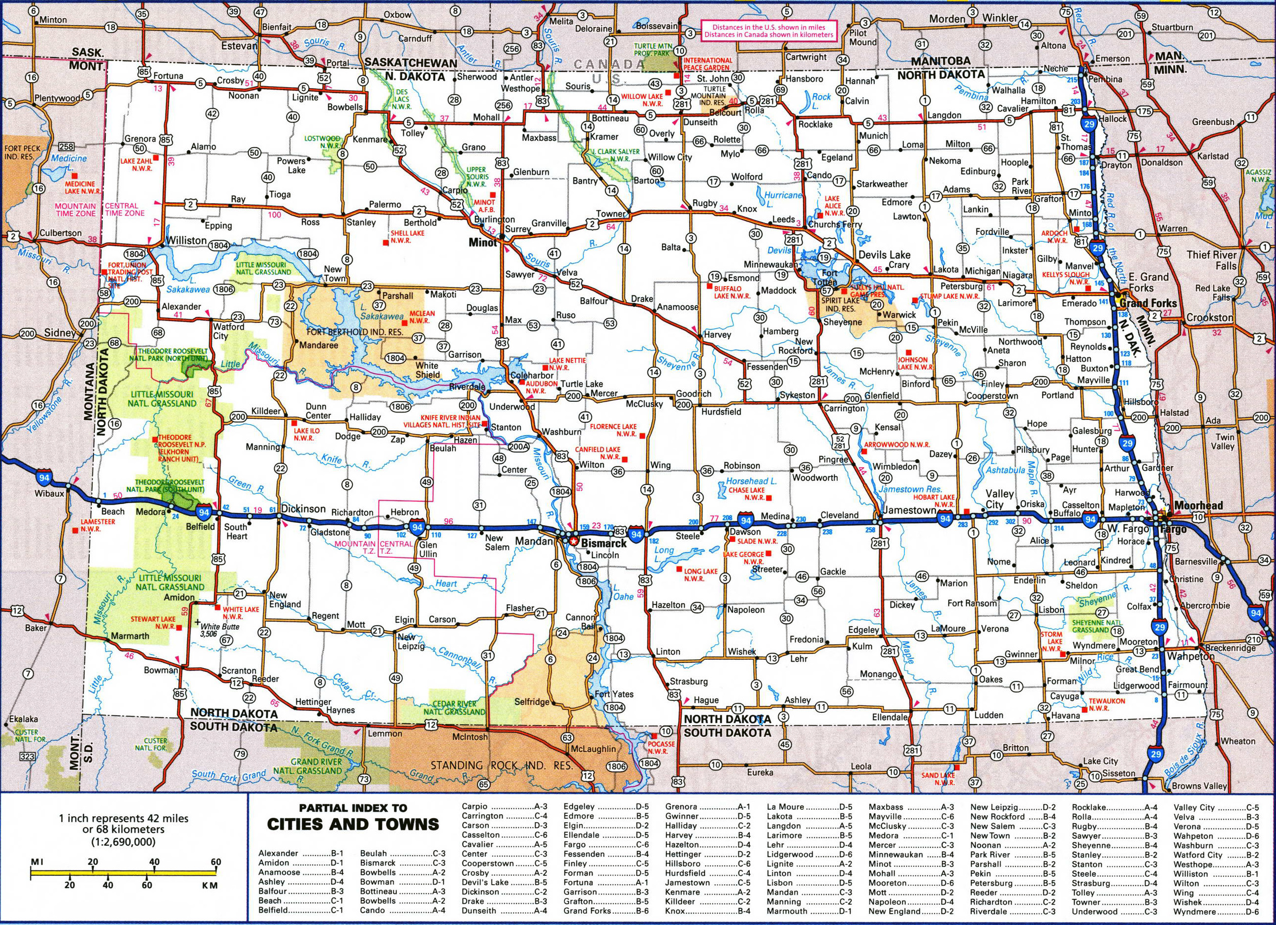 large detailed roads and highways map of north dakota state with