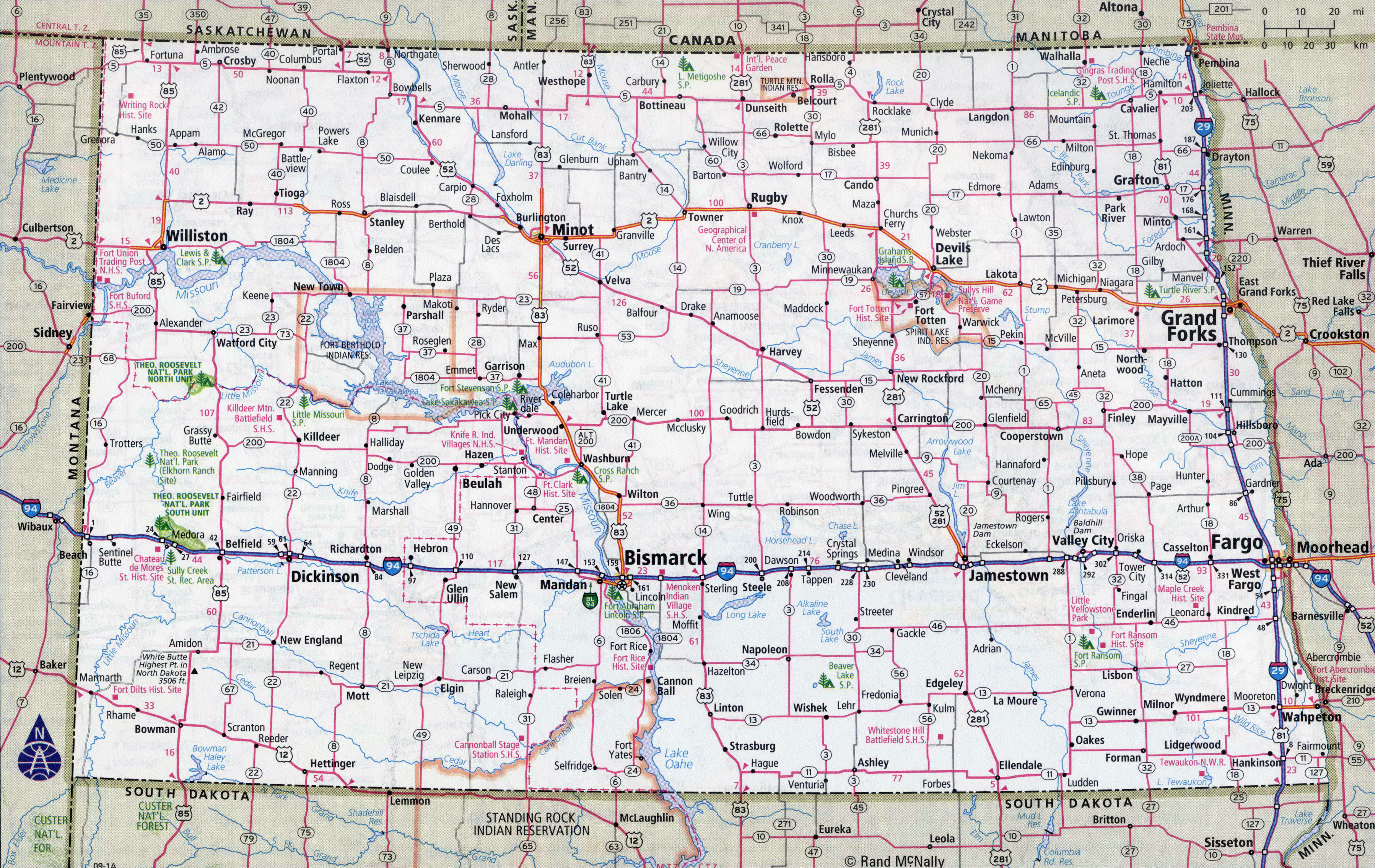 Large detailed roads and highways map of North Dakota state with ...