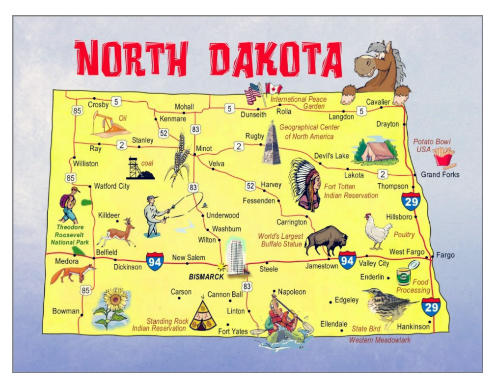 Large Tourist Illustrated Map Of North Dakota State Vidianicom - North dakota map usa