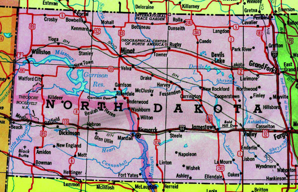 Map of North Dakota state with highways. North Dakota map with highways.