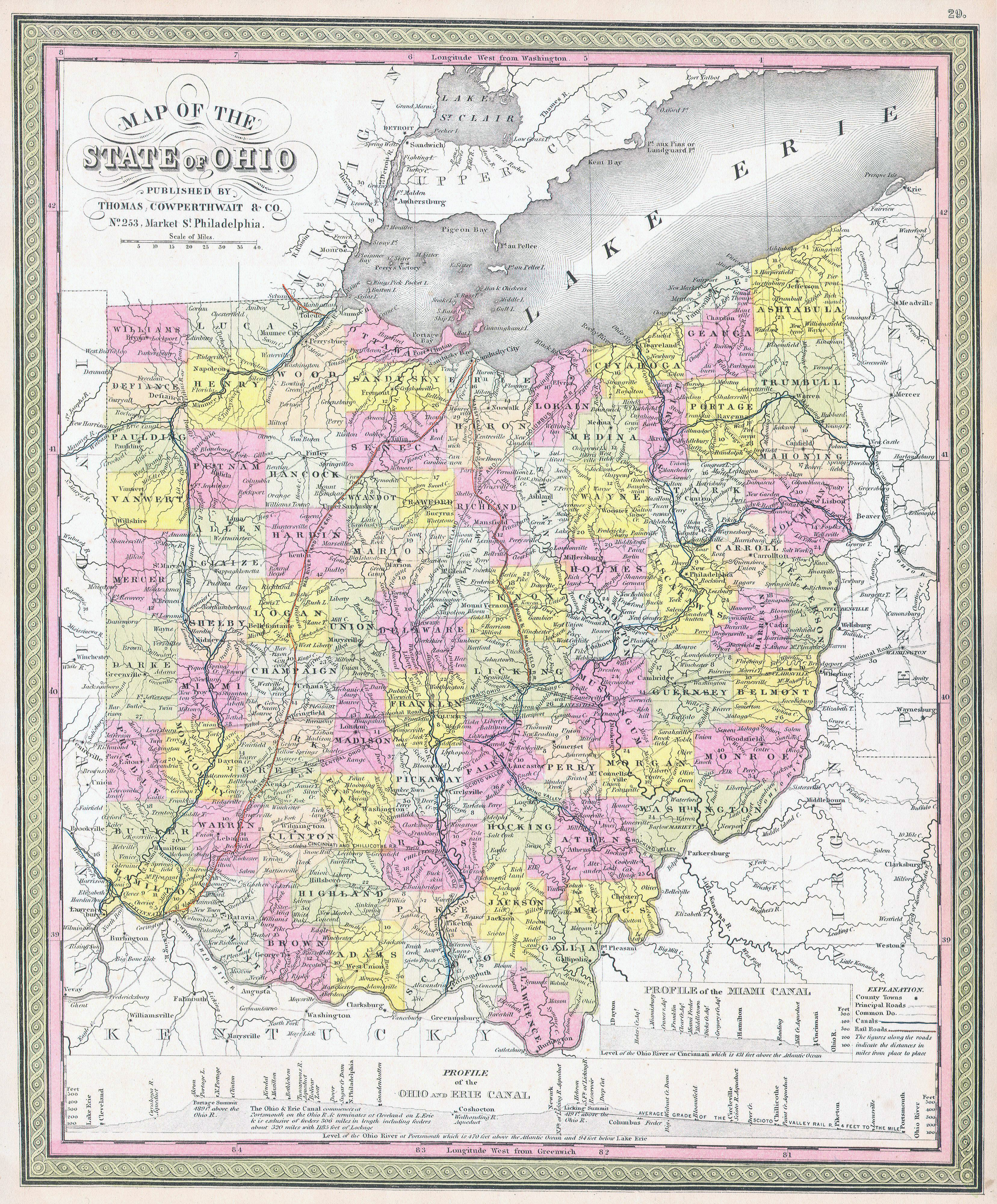 Large Detailed Old Administrative Map Of Ohio State 1850 Vidiani