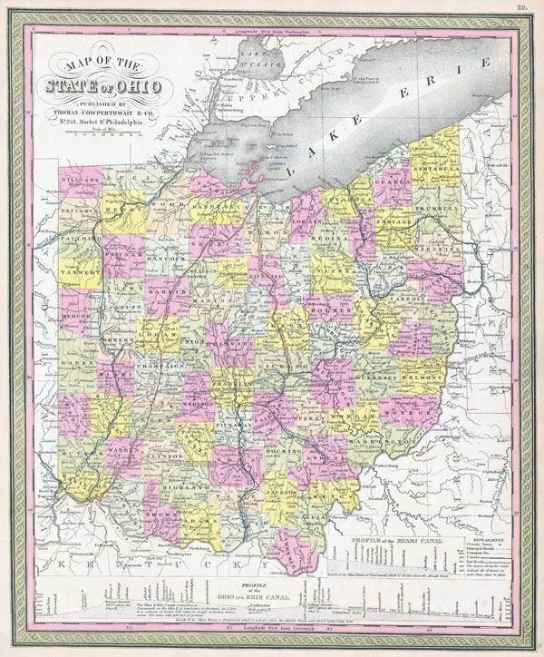 Large detailed old administrative map of Ohio state - 1850.