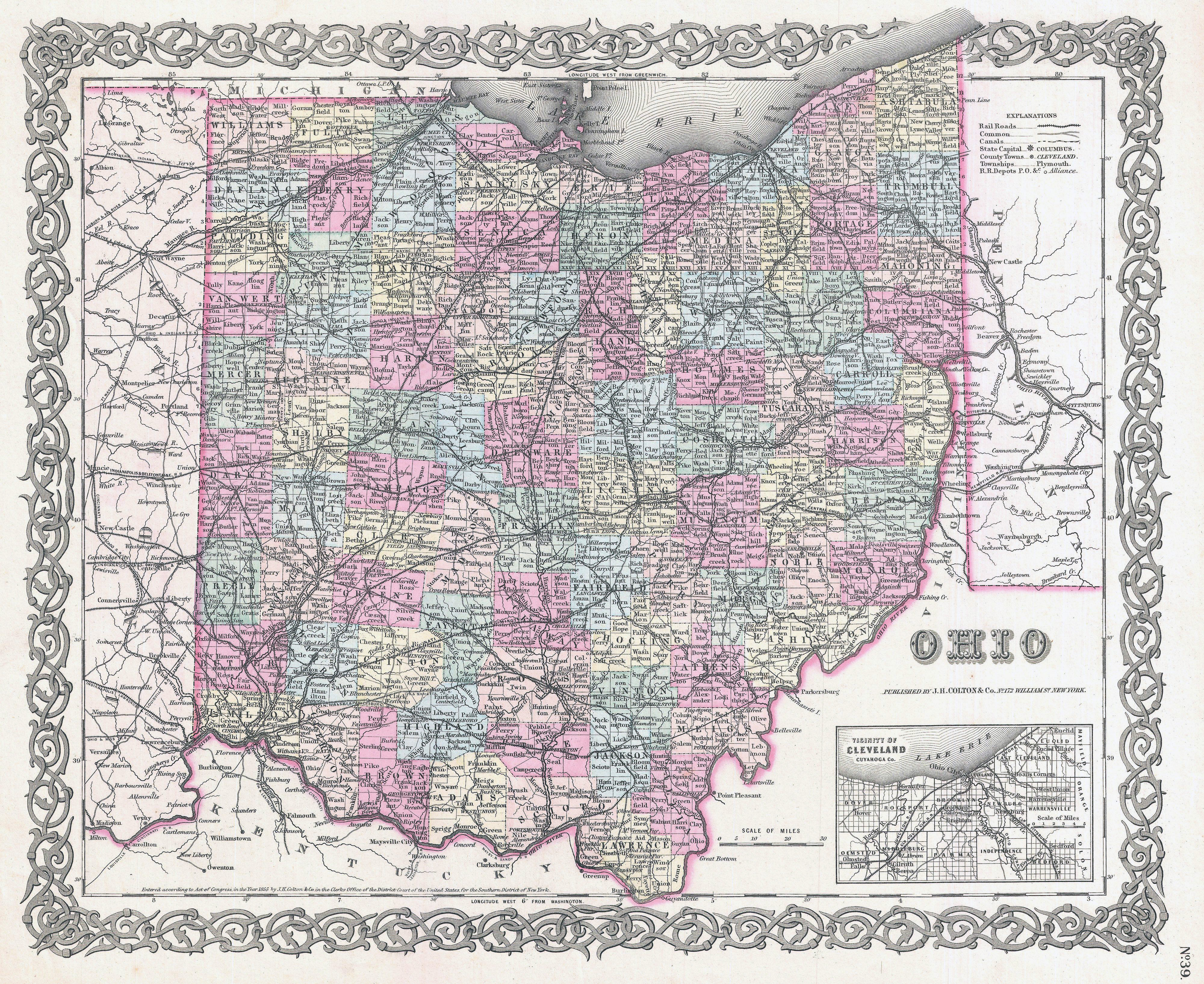 Large detailed old administrative map of Ohio state – 1855 | Vidiani on