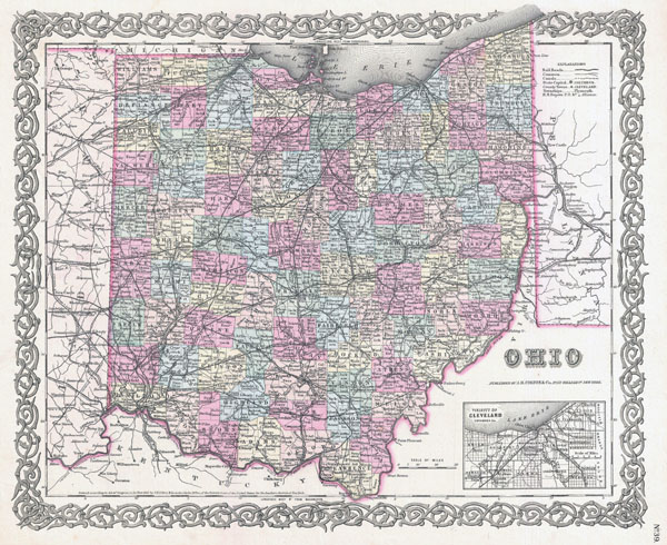 Large detailed old administrative map of Ohio state - 1855.