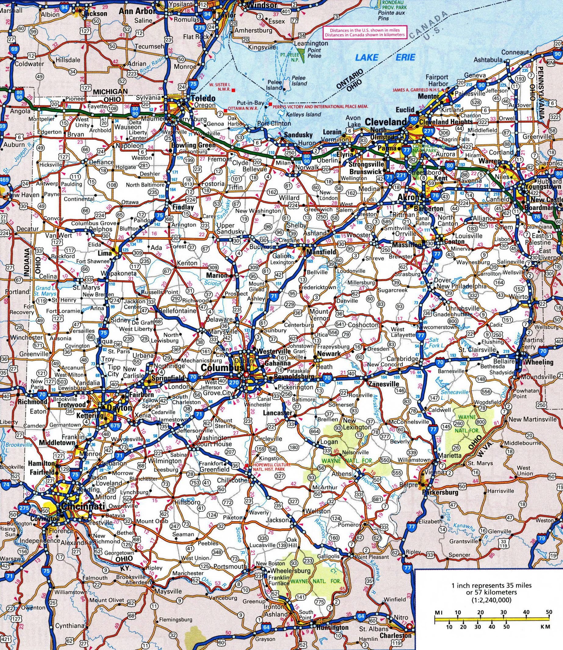 Large detailed roads and highways map of Ohio state with all cities ...