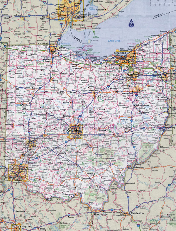 Large detailed roads and highways map of Ohio state with national parks and all cities.
