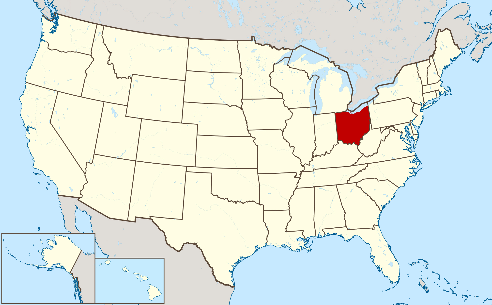 Large location map of Ohio state. Ohio state large location map ...