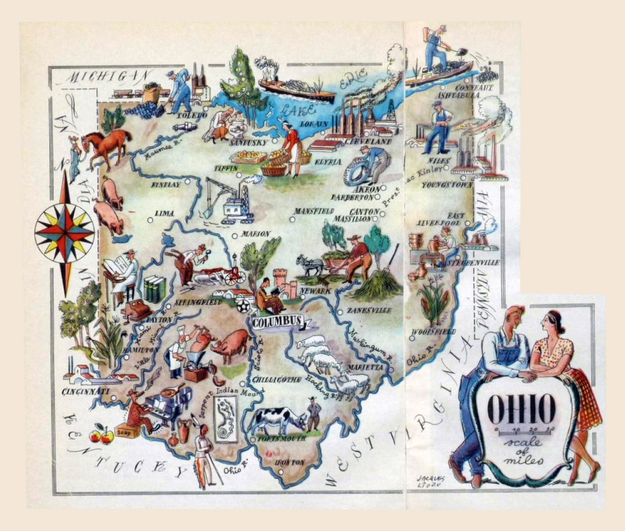 Large Tourist Illustrated Map Of Ohio State Vidianicom Maps - Maps of ohio