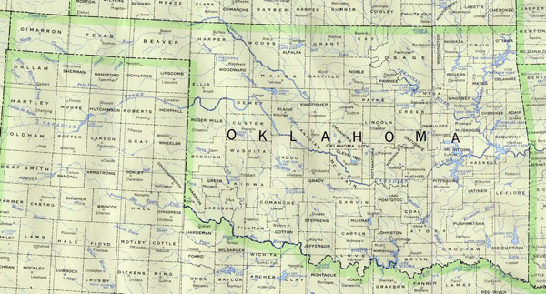 Detailed map of Oklahoma state. Oklahoma state detailed map.