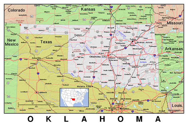 Detailed map of Oklahoma state with relief.
