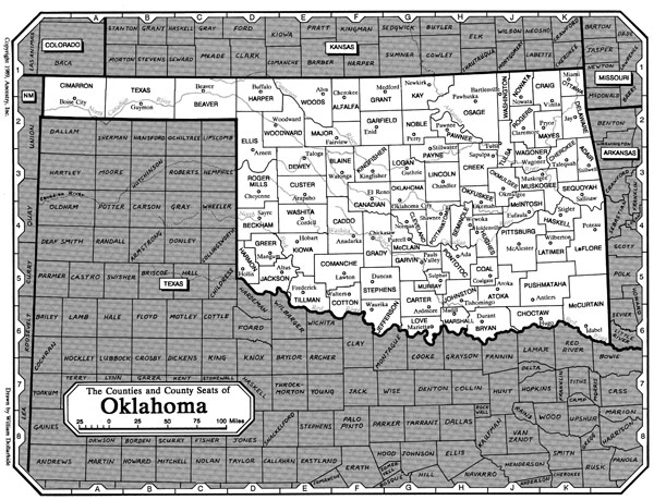 Large administrative map of Oklahoma state.
