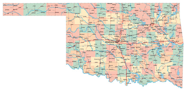 Large administrative map of Oklahoma state with roads, highways and cities.