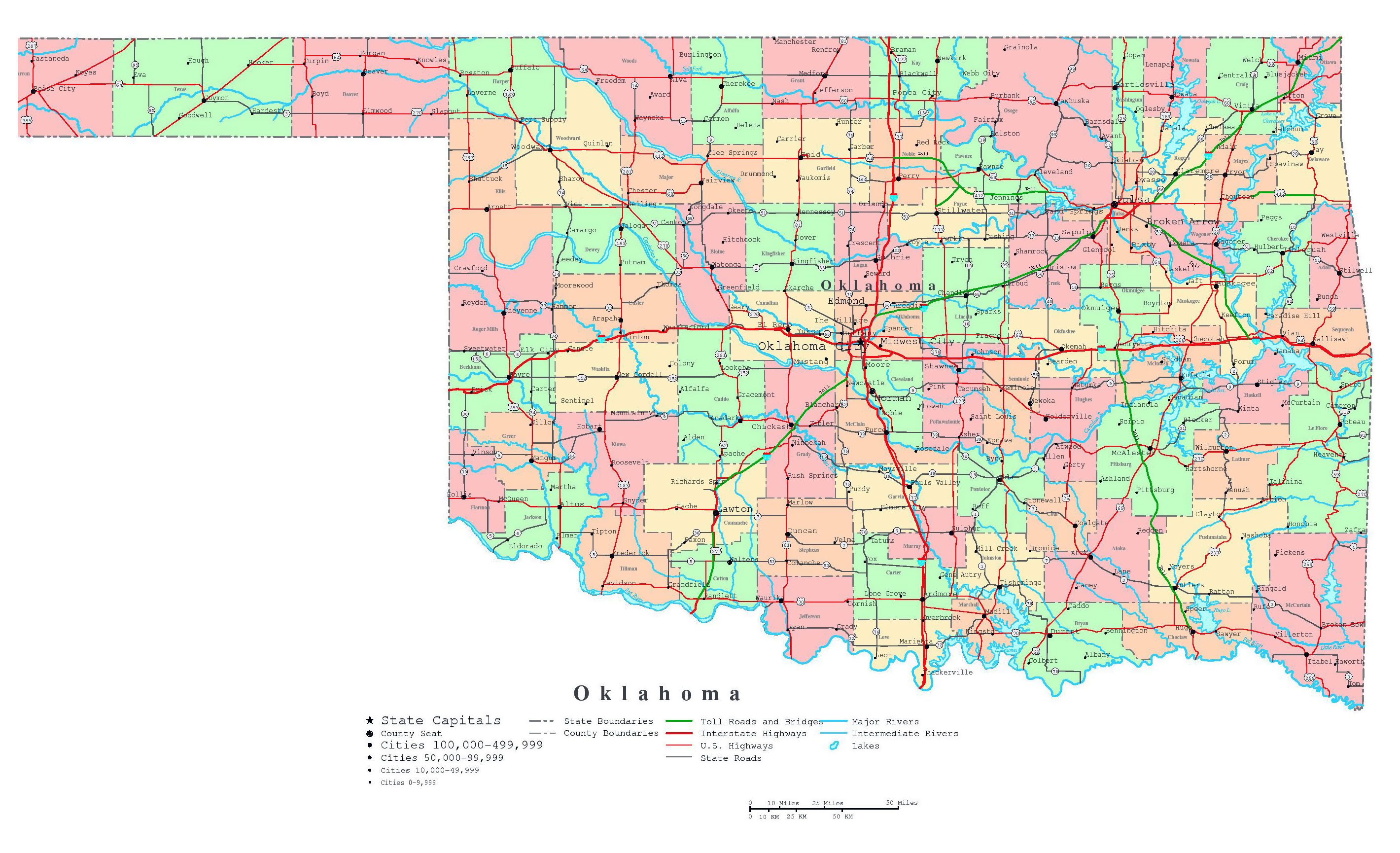 Large detailed administrative map of Oklahoma state with roads