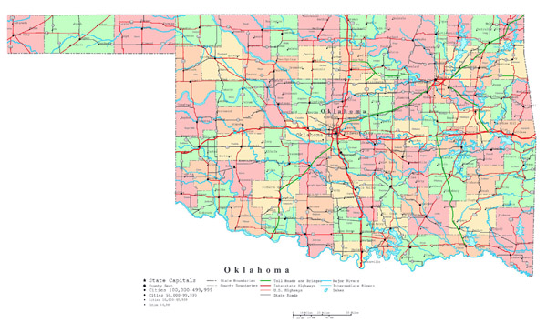 Large detailed administrative map of Oklahoma state with roads, highways and cities.