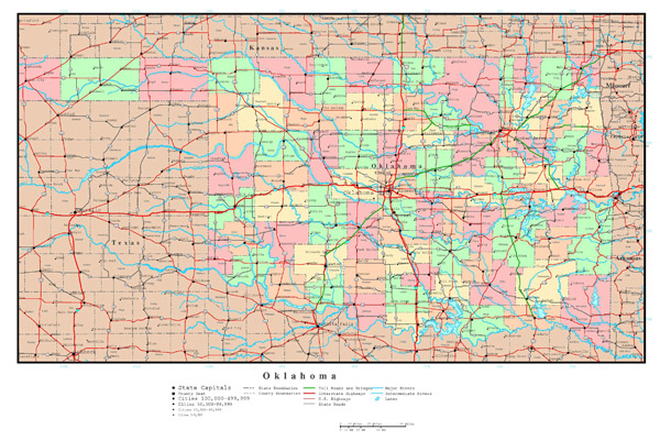 Large detailed administrative map of Oklahoma state with roads, highways and major cities.