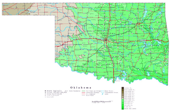 Large detailed elevation map of Oklahoma state with roads, highways and cities.