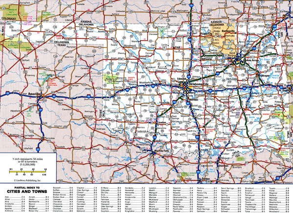 Large detailed roads and highways map of Oklahoma state with all cities.