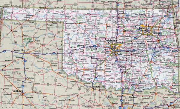 Large detailed roads and highways map of Oklahoma state with national parks and all cities.