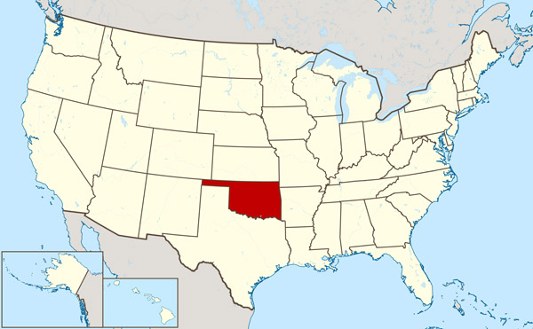 Large location map of Oklahoma state. Oklahoma state large location map.