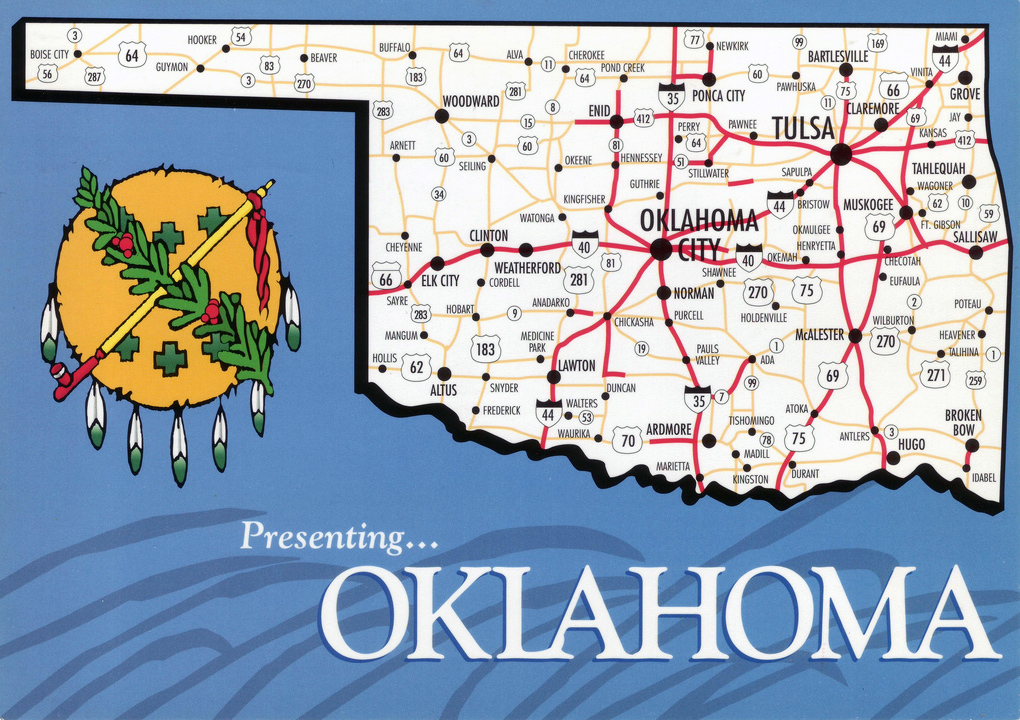 Large Map Of Oklahoma State With Roads And Highways Vidianicom - Oklahoma highways map