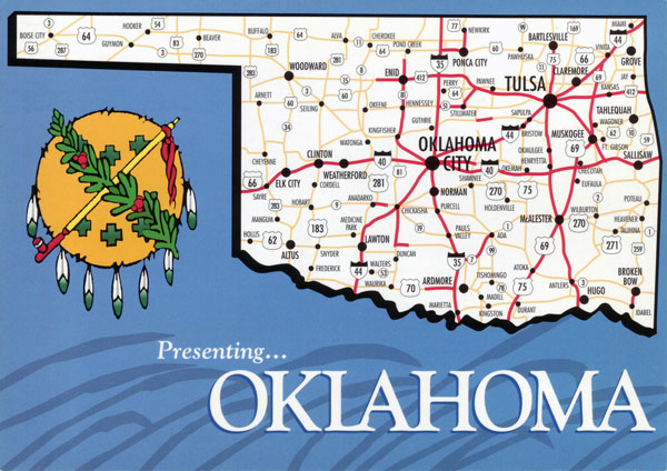 Large map of Oklahoma state with roads and highways.