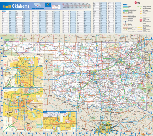 Large roads and highways map of Oklahoma state with national parks, all cities, towns and villages.