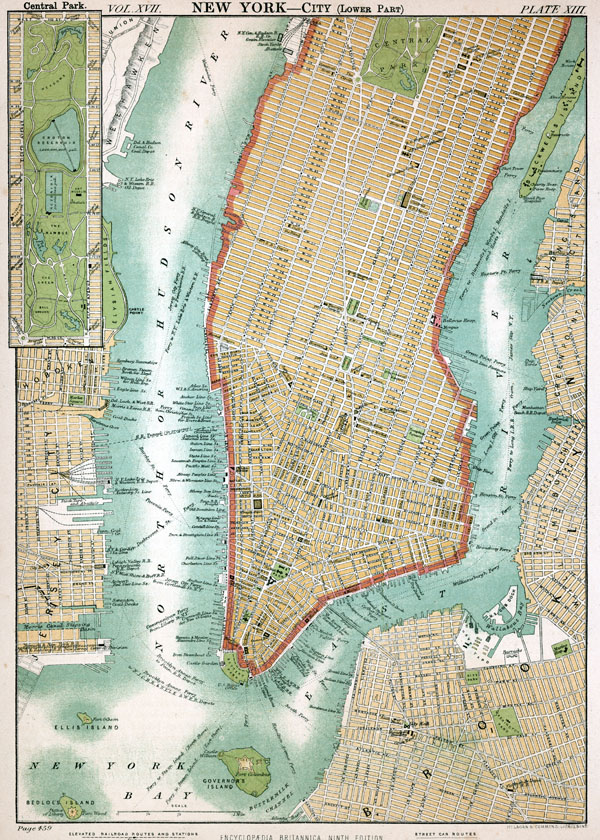 Old detailed map of Manhattan.