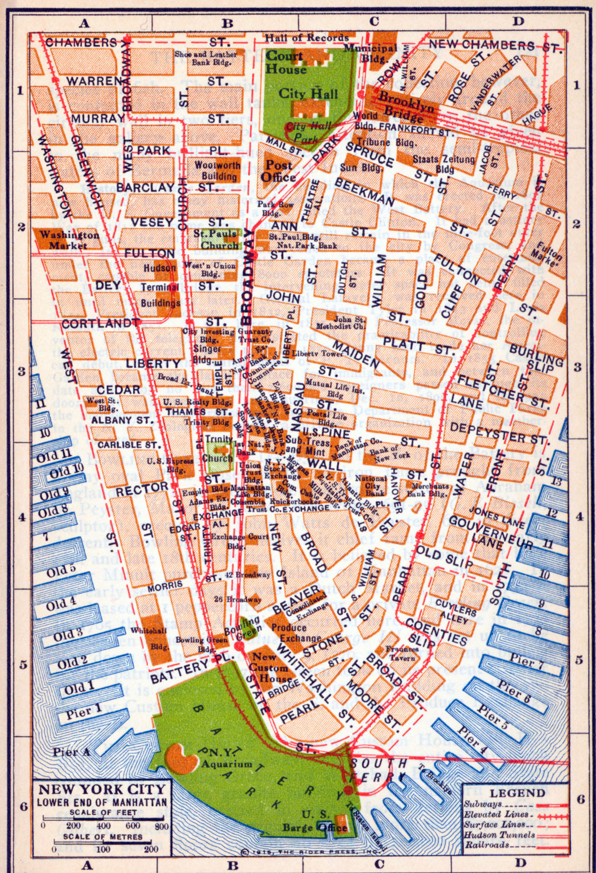 Old detailed road map of New York city of lower Manhattan 1916