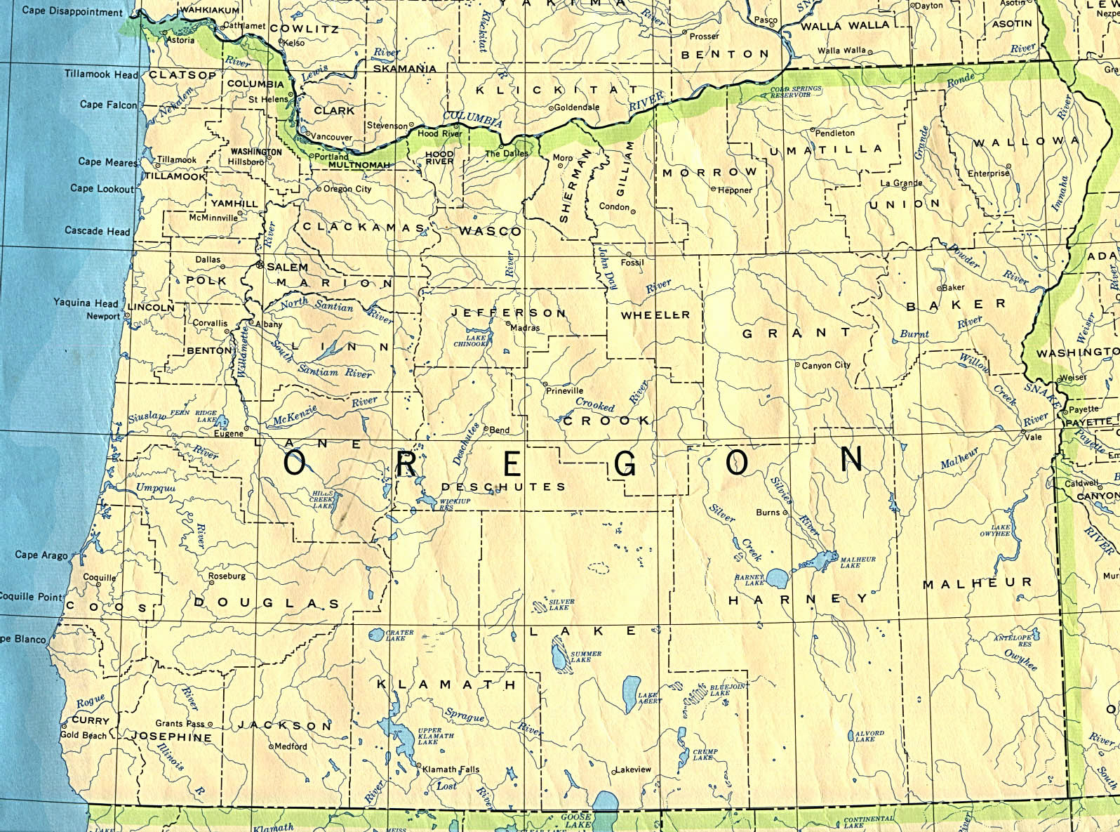 Detailed Map Of Oregon State Oregon State Detailed Map
