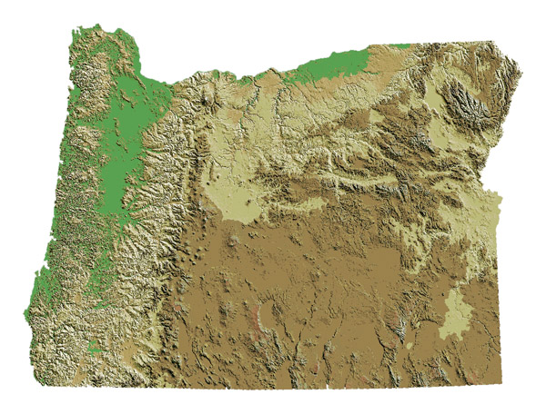 Detailed relief map of Oregon state. Oregon state detailed relief map.
