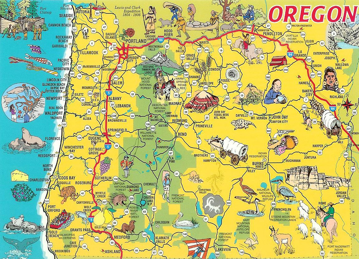 Detailed tourist illustrated map of Oregon state Vidianicom