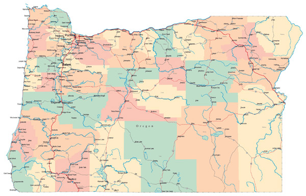 Large administrative map of Oregon state with roads, highways and cities.
