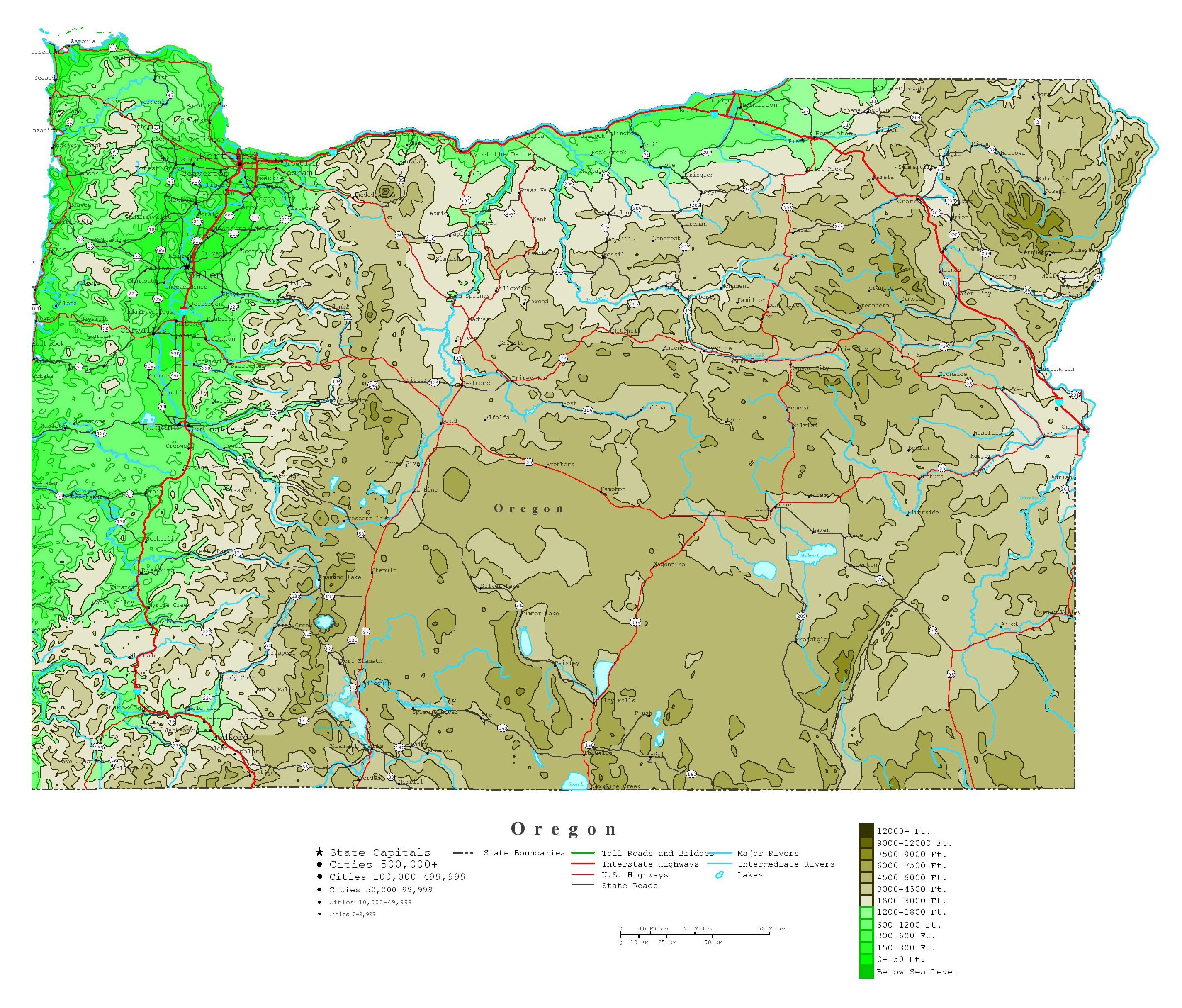 Large Detailed Elevation Map Of Oregon State With Roads