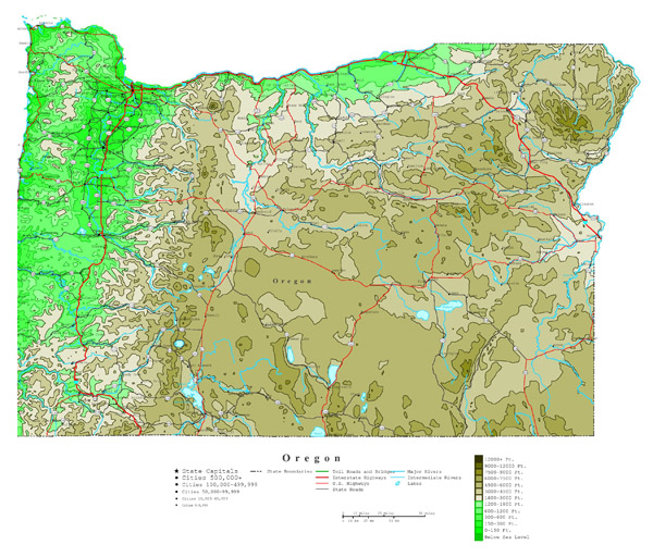Large detailed elevation map of Oregon state with roads, highways and cities.