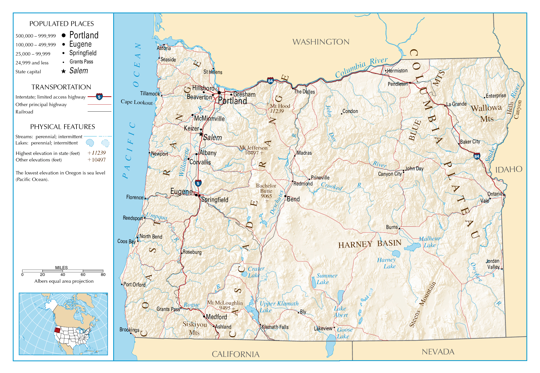 Large detailed map of Oregon state. Oregon state large ...