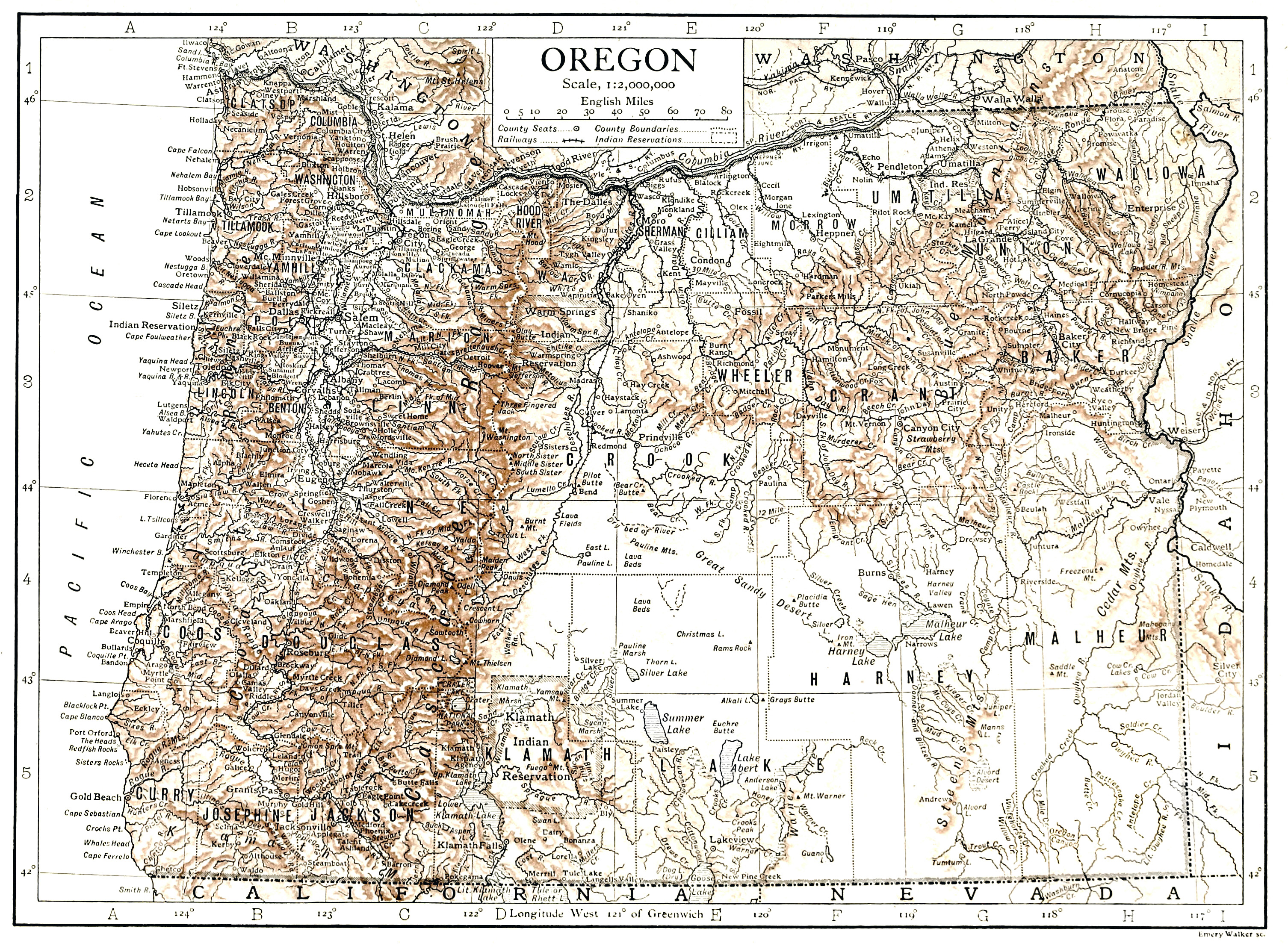 Large Detailed Old Relief Map Of Oregon State  1911