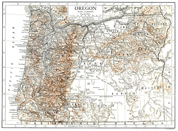Large detailed old relief map of Oregon state - 1911.