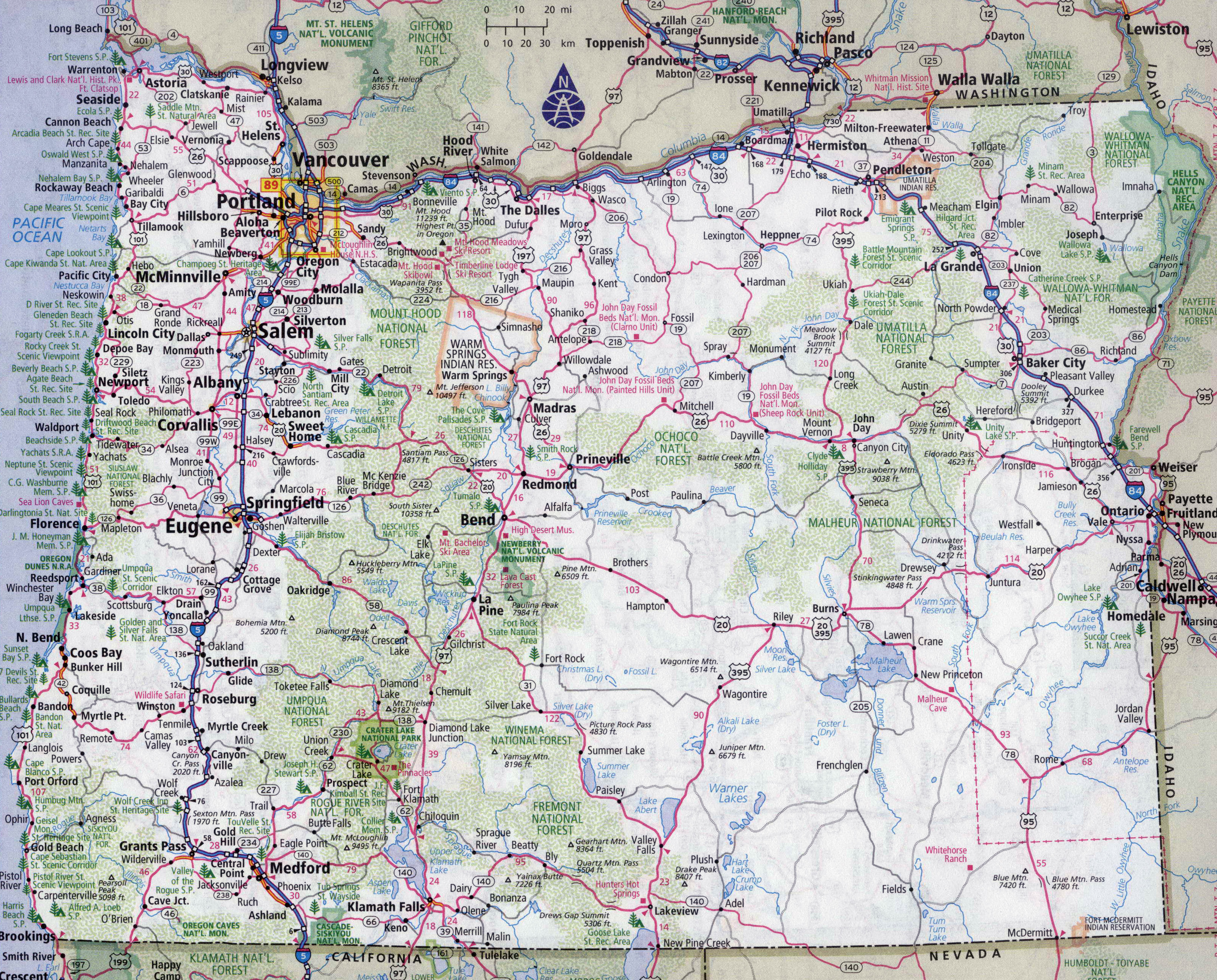 Large detailed roads and highways map of Oregon state with all – Oregon Tourist Map