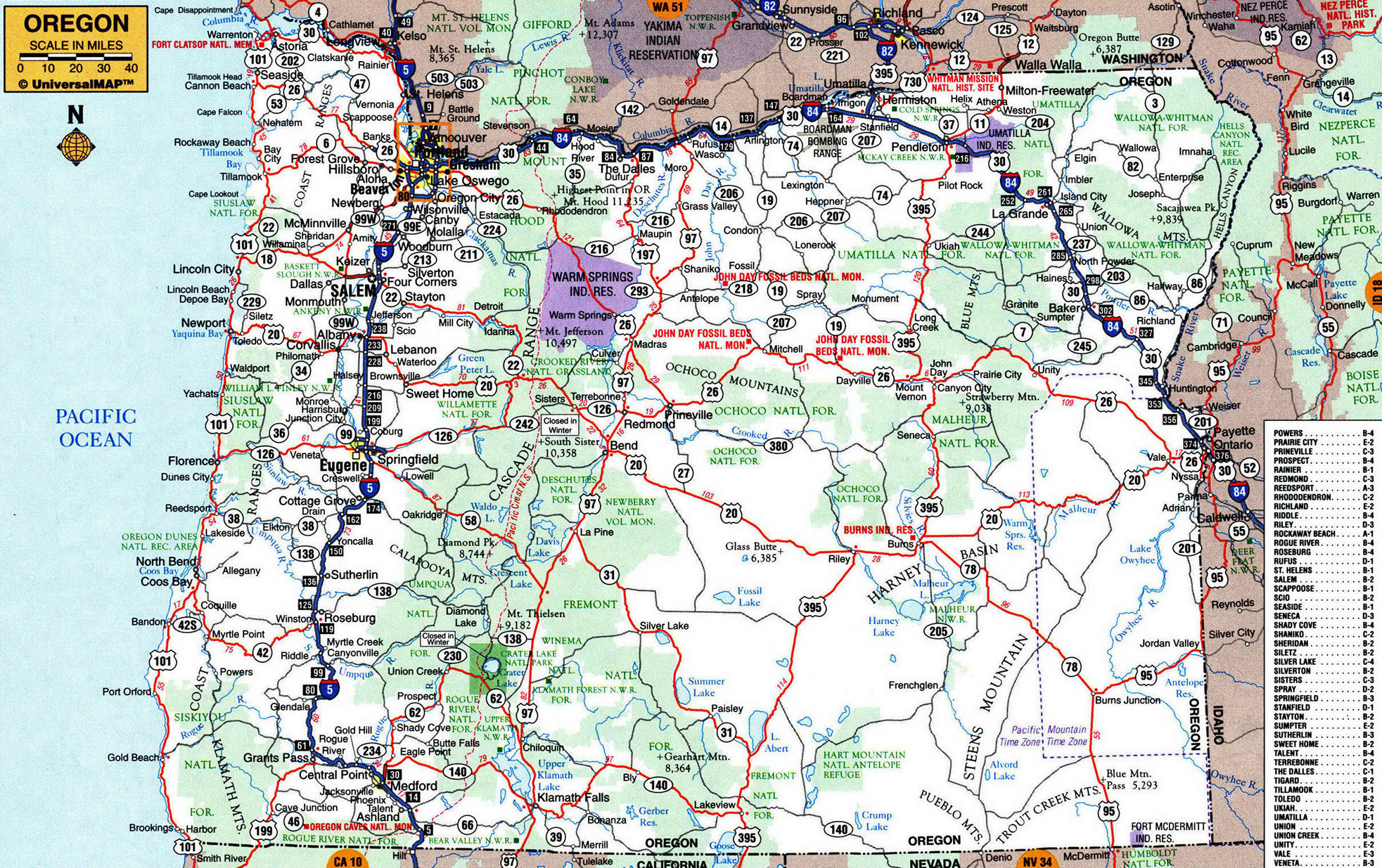 Large roads and highways map of Oregon state with cities – Oregon Tourist Map