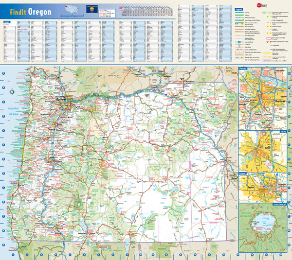 Large roads and highways map of Oregon state with national parks and cities.