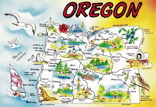Large tourist illustrated map of Oregon state.