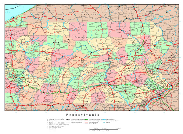 Large detailed administrative map of Pennsylvania state with roads, highways and major cities.