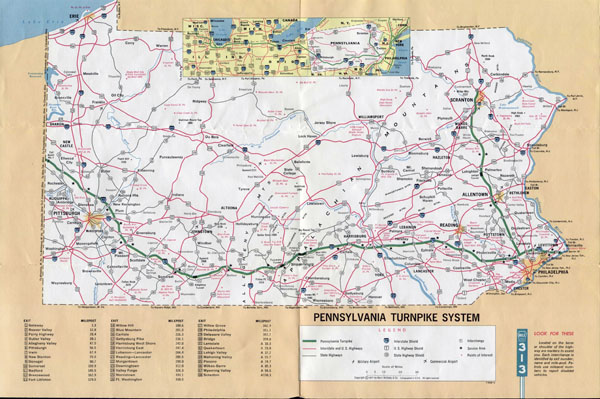 Large detailed map of Pennsylvania turnpike system - 1971.