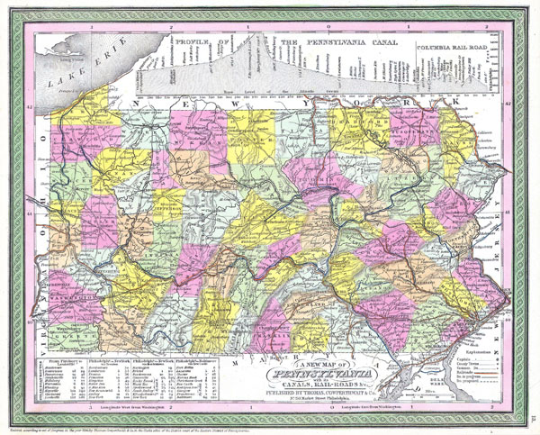 Large detailed old administrative map of Pennsylvania state - 1850.