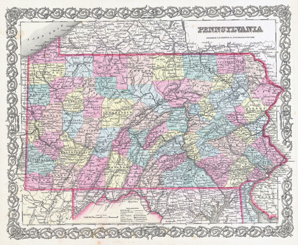 Large detailed old administrative map of Pennsylvania state - 1855.