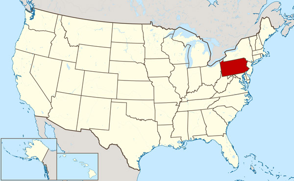 Large location map of Pennsylvania state.