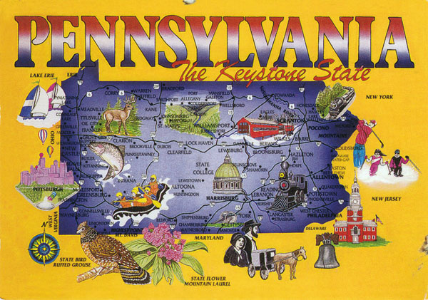 Large tourist map of Pennsylvania state. Pennsylvania large tourist map.