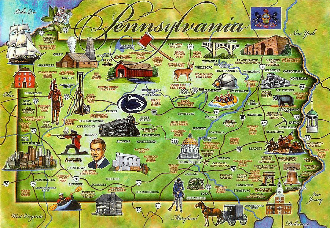 tourist illustrated map of pennsylvania state vidiani maps