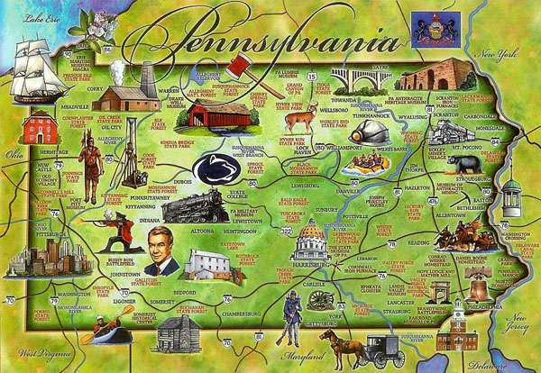 Tourist illustrated map of Pennsylvania state.